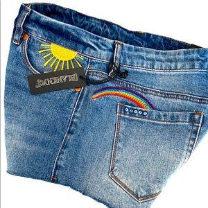 Blank NYC The Astor Sun Rainbow Denim Shorts 26 2